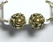 Vintage HONG KONG Pearly Moss & Gold Cluster Bead Clip Earrings