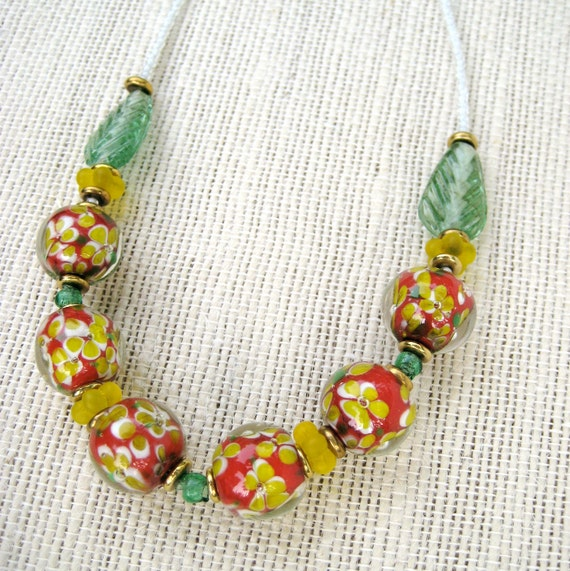Venetian Glass Flower Necklace with Vintage Yellow and Red Flowers Encased Glass Beads Yellow Green and Red Colorful Jewelry