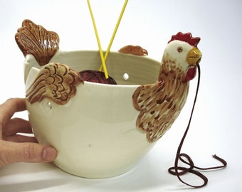 Large Yarn Bowl Knitting organizer storage chicken Crochet Knitters gift handmade ceramic pottery Autumn Decor Country Living - ONE IN STOCK