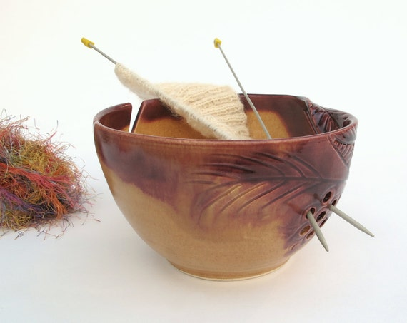 "Yarn Bowl Knitting bowl LARGE 8"" Autumn Gold Yarn Wool Organizer Red Highlights Crochet Bowl pottery twisted leaves IN STOCK"