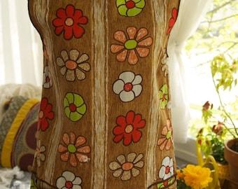 REDUCED Vintage 1970s Wood Panel & Floral Half Apron Smock