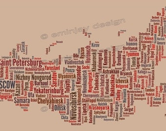 """SALE: Russia Typography Map Art Print - 13 x 19"""" // additional sizes available"""