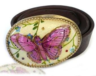 Butterfly Belt Buckle - Women's Leather Belt - Women's Belt Buckle - Women's Buckle - Belt Buckle for Women - Colorful Buckle - Iris Design