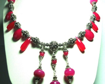 Pink Agate Necklace Hot Pink Necklace Fuschia Bib Necklace Exotic Hot Pink Agate Statement Necklace with Ornate Solid Sterling Bali Beads