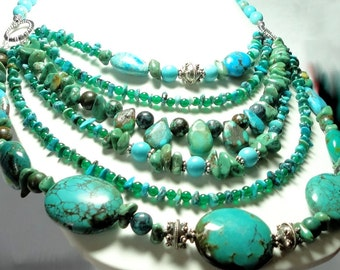 Turquoise Designer Necklace Real Turquoise Bib Collar Statement Necklace 6 Strand Genuine Turquoise Nugget Gemstone Necklace with Sterling