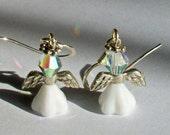 June Birthstone Angel Earrings