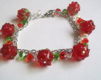 Raspberries and Crystals Charm Bracelet
