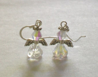 April Birthstone Angel Earrings