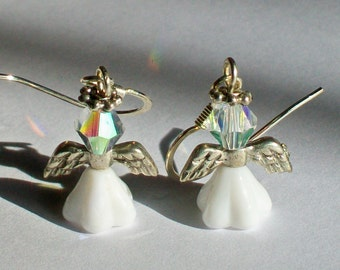 June Birthstone Angel Earrings