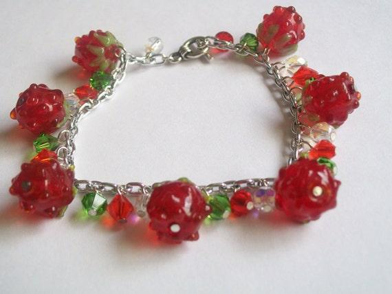 SALE - Raspberries and Crystals Charm Bracelet