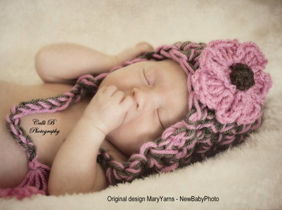 Earflap Baby Hat in Chocolate Pink  Newborns HAT Photography Handmade by MaryYarns