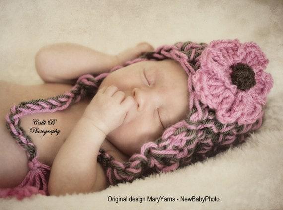 Photo prop Baby Girl Hat Pink & Chocolate, Baby Hat photo shoot, GIFT Newborn Beanie Hat, Earflap Photo Prop, Baby Shower Gift Hat, Girl Hat