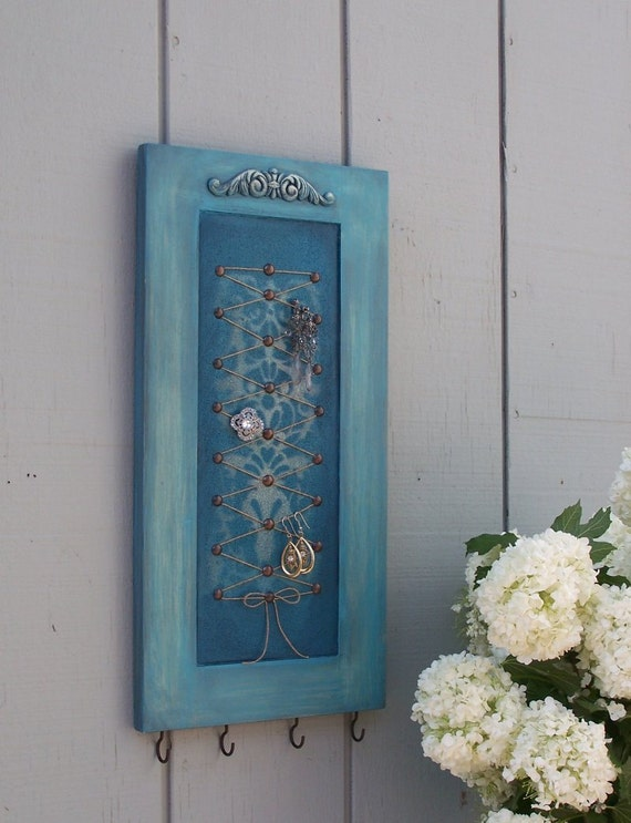 Jewelry Display, Organizer,  Memo Board  with hooks -  Shabby Chic Turquoise