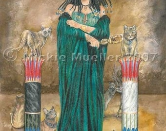 Priestess of Bast, Cat Goddess Art Print