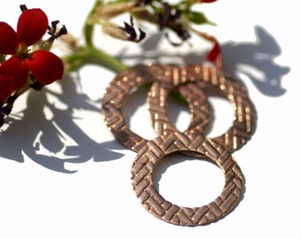 Metal Blank 22mm Copper Donut Washer in Pattern, Metalworking Supply, Jewelry Charm - 4 Pieces
