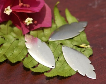 Nickel Silver Leaf Blank - Leaves - Fall Greenery 47mm x 19mm 22g With Hole Cutout Shape Charms for Soldering Stamping Blank