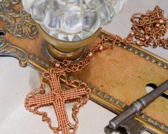 Faith - Ornate Wire Woven Cross in Copper