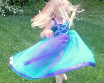 Little Mermaid Dress: purple and teal, Birthday Princess Party, tutu dress with twirl, Princess Trip, cruise, Halloween Costume, Ariel