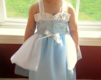 Cinderella Dress: blue & white Tutu Dress, Princess Birthday Party, vacation, halloween costume, Pretty Wrap Around Easy on and off, dinner
