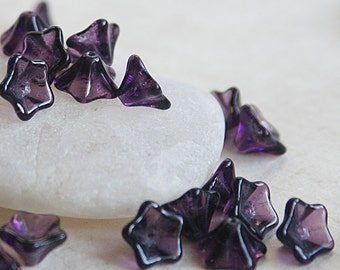Czech Glass Flower Beads - Jewelry Making Supplies - 8x13mm Trumpet Flower Bead (12 or 25 Beads) Tanzanite Purple Glass