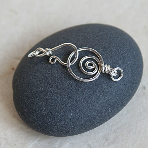 Handmade Sterling Silver Clasp Spiral Clasp - Jewelry Making Supplies - Handmade Findings - Necklace Clasp