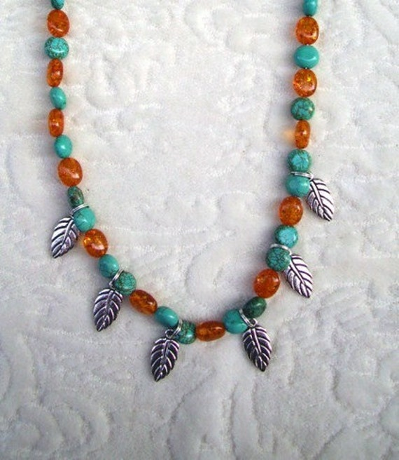 Southwestern Native American necklace Turquoise Amber