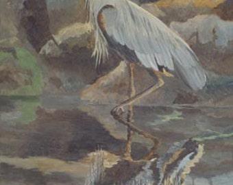 Heron Reflections Paper Giclee Print Great Blue Ilwaco Washington by Carol Thompson