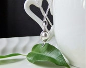 Pea Pod Necklace, One Pea Pendant, New Baby, Silver Singles Necklace Fine Silver