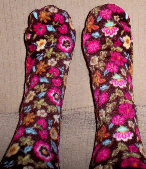 Womens Fleece Socks Wild Floral Print Ladies Sox
