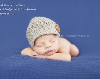 Newsboy Baby Hat Crochet Pattern in Newborn, Baby and Toddler Sizes - Textured Little Newsy Pattern No.206 Digital Pattern