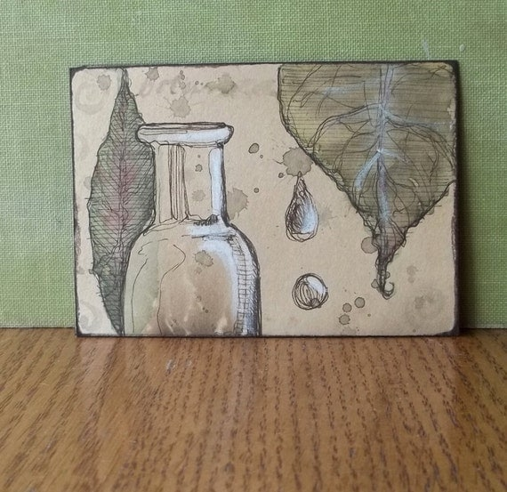 Original art drawing ACEO, apothecary jar with leaves -- ink, watercolor and white conte, OOAK