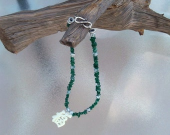 Green Aventurine and Moss Agate Necklace with Good Luck Pendant by Mama's Got A Bead Box on Etsy