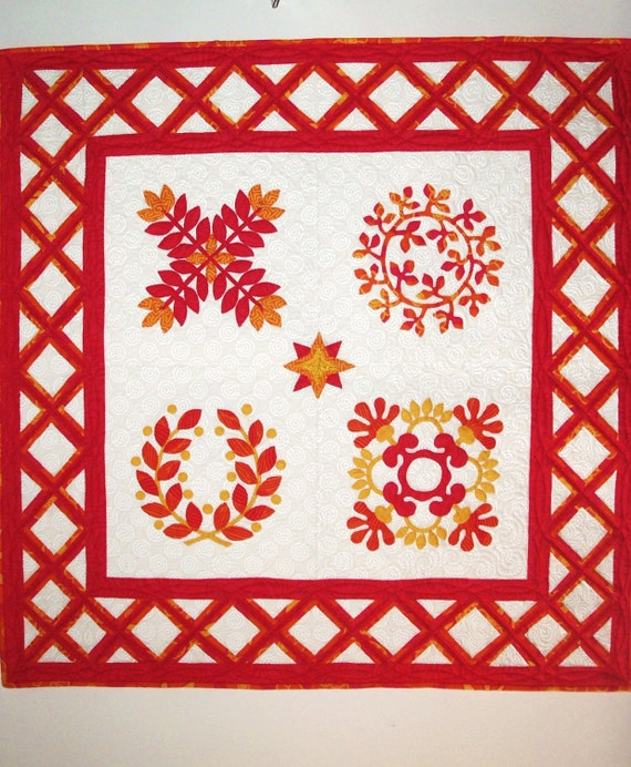 Baltimore Album Style Wall Hanging Quilt in Hot Pink, Orange, Yellow and White Nontraditional