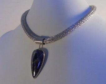 Loop-in-Loop Chain Necklace, Fine Silver, Pyrite In Hematite Pendant, Etruscan, Roman, Choker Statement  (FSN-107)