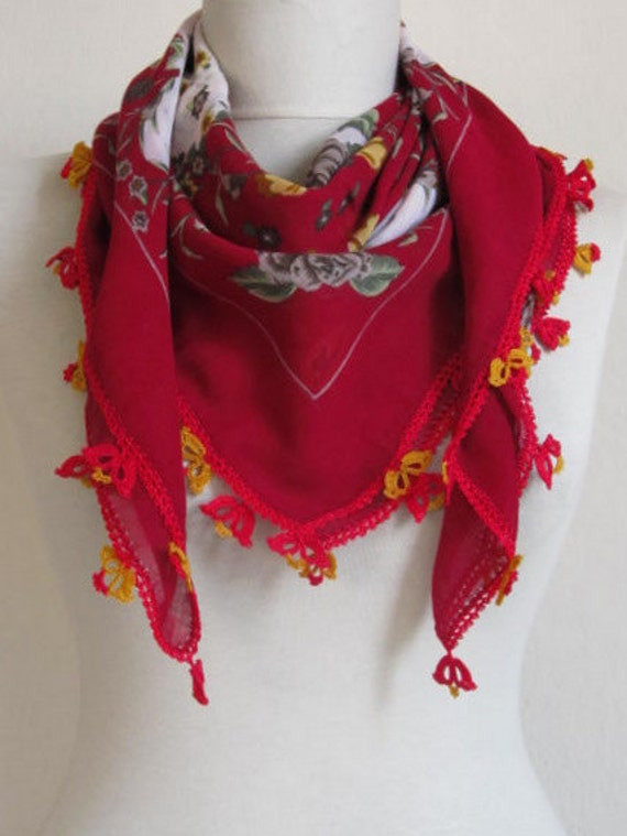 women red scarf - SQUARE cotton scarf -  Turkish scarf - Yemeni OYA Scarf - woman scarves - cotton scarf