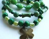 Clearance, Stacking Bracelet Set, Green, Lucky, Shamrock, Four Leaf clover, stretch bracelets