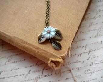 Leaf Necklace Sunflower Necklace Leaf Pendant Necklace Flower Choker Necklace Sky Blue Necklace Flower Pendant Necklace Leaf Charm Necklace