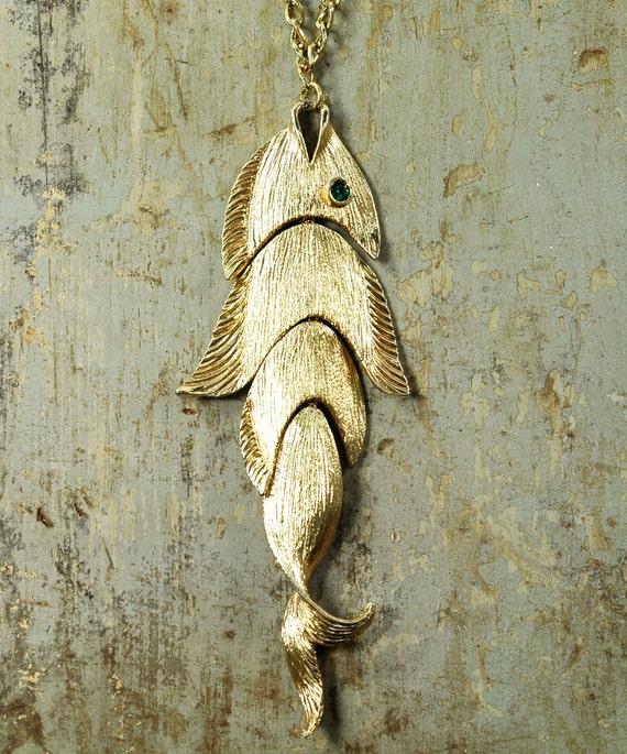Huge PISCES Statement Necklace - Kinetic FISH Necklace - Gold - Vintage 60s - Signed NAPIER