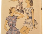 Advance 7878 1950s Cobbler Apron With Pockets Vintage Sewing Pattern Sew Easy