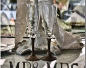 Unique Pair Wedding Toasting Flutes with Wood Turned Stems