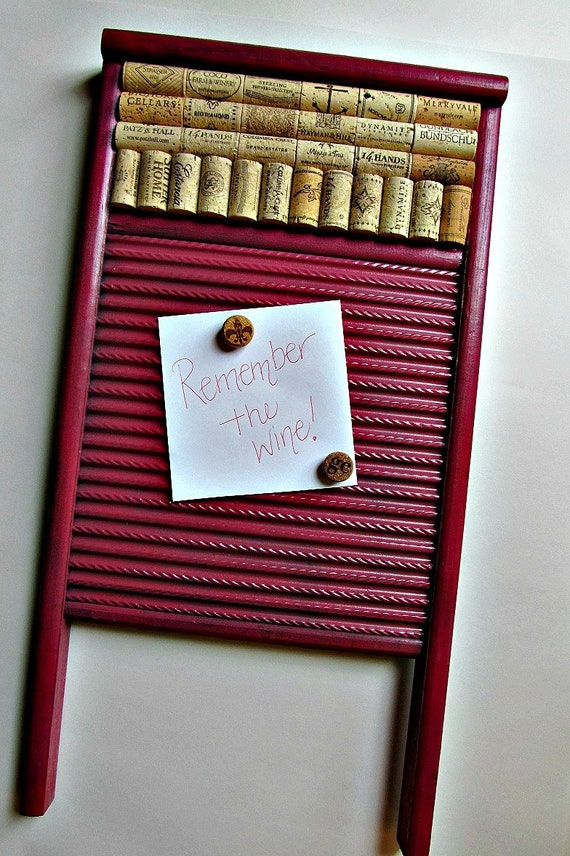 Washboard Wine Cork and Magnet Message Board