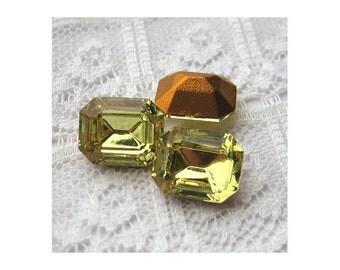 12x10 Swarovski Jonquil Yellow Octagon Vintage Rhinestone Qty 2