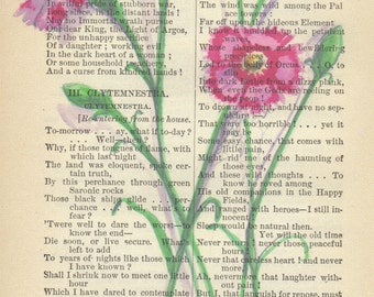 Botanical Watercolor Pink Flowers Printed on Antique Book Page, Free Shipping in US