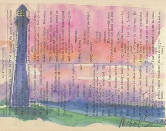Watercolor Lighthouse Printed on Antique Book Page, Free Shipping in US