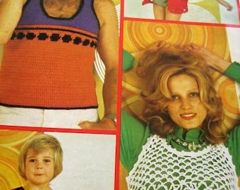 1970s crochet patterns booklet 7 Boho Vintage patterns for men women and children Jackets Vests Tops Pants Beach Cover Up ORIGINAL NOT PDF