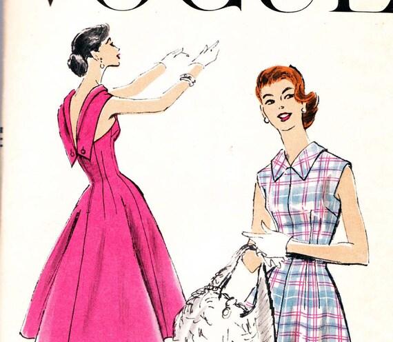 Sz 14 Vintage 50s Vogue 8875 Sewing Pattern Dress with Low V Back Bust 32  UNUSED FF