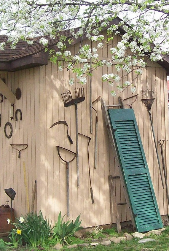 Vintage Wood Shutters / Dark Green / Salvaged Hardware /Farmhouse rustic/Altered GArden Gates