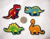 8 Dinosaurs No Sew Iron On Appliques Cotton Patches Retro