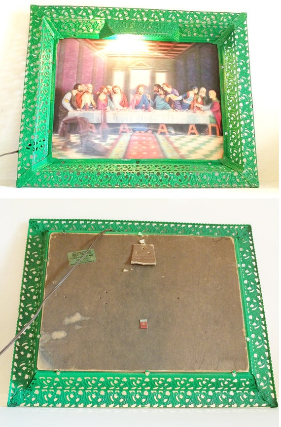 Illuminated Metal Frame - bright green, last supper, shabby, religious, emdur, holiday