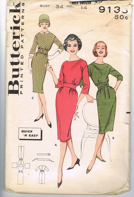 1960s Dress Pattern Very Mad Men Wiggle Vintage Butterick 9133 SALE Mid Century Sewing Patterns Supplies Sew DIY